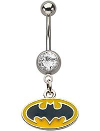 DC Comics Batman Press Fit Logo Gem Dangle 14 Gauge Belly Button Ring