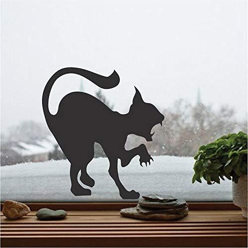 Angreifende Katze Silhouette Wandaufkleber Scary Cat Vinyl Aufkleber Für Zuhause Halloween Urlaub Decor Art Wall Poster Home Deco 58x58 cm (Halloween Art Urlaub)