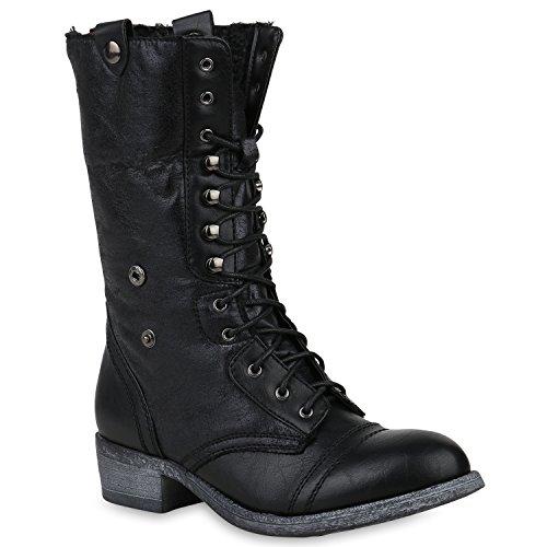 Stiefelparadies Gefütterte Damen Schuhe Stiefel High Heels Holzoptikabsatz Elegant 153227 Schwarz Carlet 39 Flandell
