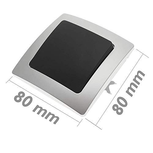 BeMatik - Interruptor empotrable con Marco 80x80mm Serie Lille de Color Plata...