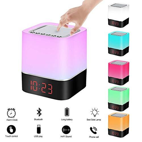 LED Bluetooth Lautsprecher Lampe, ZMZTec Kabellos Nachtlampe mit Touch Sensor, Nachttischlampe mit Wecker, Lautsprecher Boxen, Farbwechsel Stimmungslicht, Beste Geschenk für Kinder/Freunden (7 Farben) -