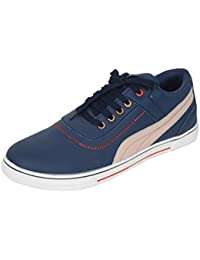 San Franco Men's Blue Synthetic Leather Lace Up Casual Shoes - B07572DHCV