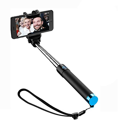 Selfie Stick [Sans Pile Sans Bluetooth] Perche de Selfie Perche Selfie pour iPhone 6s 6 Plus 5 5s 5c 4, 4s, Samsung Galaxy S3 S4 S5 S6 S7 Edge & Android Smartphone(Blue)