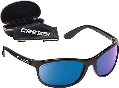 Cressi Rocker Floating Sunglasses Gafas de Sol Deportivas Flotantes con Estuche Rígido, Unisex Adulto, Negro/Lentes Espejadas Azul, Talla Única