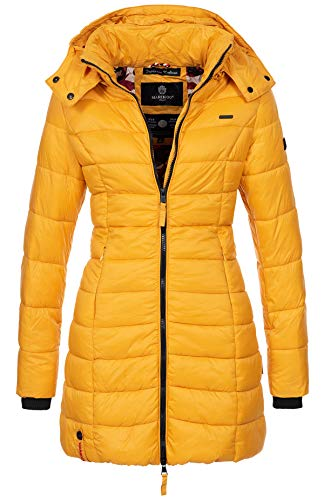 Marikoo Herbst Winter Übergangs Steppmantel Jacke Mantel gesteppt B603 [B603-Gelb-Gr.XS]