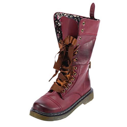 YWLINK Damen Klassisch Retro Schuh Mittlere Stiefel PU Boots Mit Westernabsatz Rutschfest Runder Zeh Cowboystiefel SchnüRstiefel Flache Schuhe(40 EU,Rot)