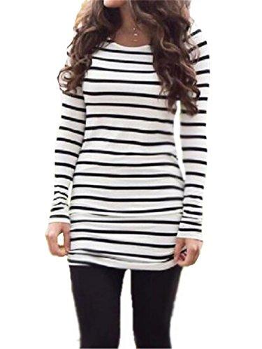 BESTHOO Maglietta Manica Lunga Donna Primavera Camicia Elegante Lunghi Camicetta Rotondo Collo Top A Strisce Maglietta Classico Semplice White