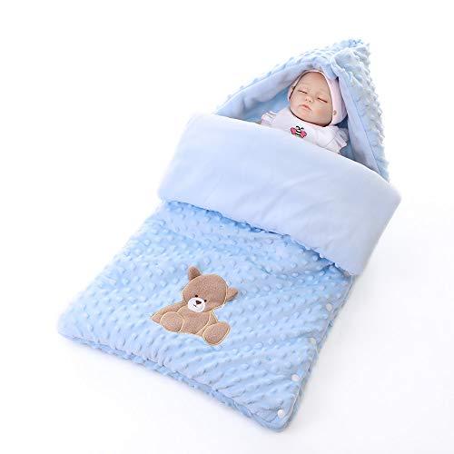 Azuo neonatal prescolastico sacco a pelo swaddle autunno e inverno addensare avvolgere la coperta baby sacco a pelo sacco anti-startle imbottita tieni la trapunta,blue