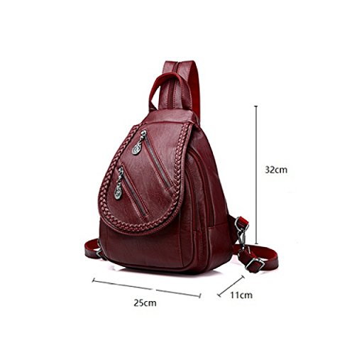 LAIDAYE Mit Drei Multifunktionale Art Und Weise Beiläufigen Rucksack Diebstahl Red