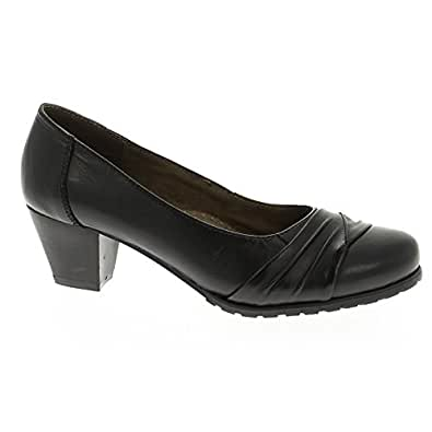 CUSHION WALK Womens Joby Black Court Shoes, Casual, Comfort, Leather 3