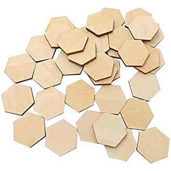 SUPVOX 200pcs /Étiquettes Hexagones en Bois Tranches de Bois Naturel Brut 12.5mm Decoration Confettis en Bois Mariage Centre de Table Embellissement DIY Artisanat Mariage Anniversaire