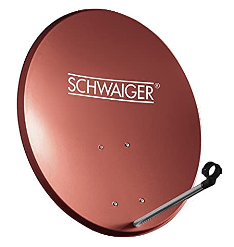 SCHWAIGER -142- Satellitenschüssel, Sat Antenne mit LNB Tragarm und Masthalterung, Sat-Schüssel aus Stahl, 55 x 62 cm