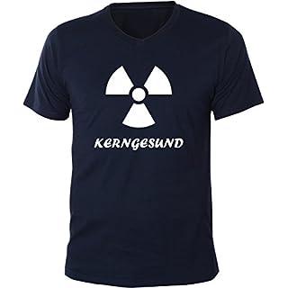 Mister Merchandise Men V-Neck T-Shirt Kerngesund AKW, Size: XXL, Color: Navy