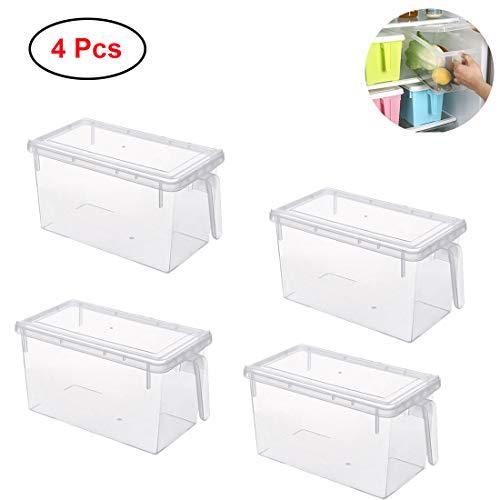 Mecotech 4er-Set Kühlschrank Organizer Kühlschrankbox Frischhaltedose mit Deckel und Griff - Stapelbare Aufbewahrungsbehälter für Lebensmittel, 31 x 15.6 x 16cm