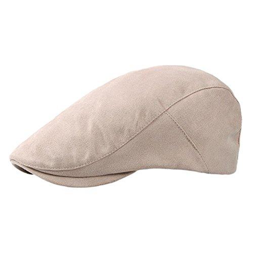 Westeng 1pcs Unisexe Béret Rétro Mode Chapeau en Coton Hat réglable Plate Vintage Casquettes Loisirs 55-59cm Rose Clair