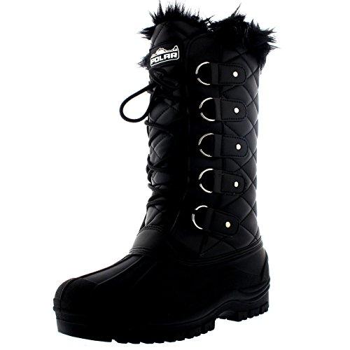 Polarr Polar Damen Tall Gesteppt Pelz Gefüttert Schnee Taktisch Berg Wasserdicht Knie Hoch Gehen Stiefel - Schwarz Leder - UK6/EU39 - YC0361 (Pelz-knie-boot)