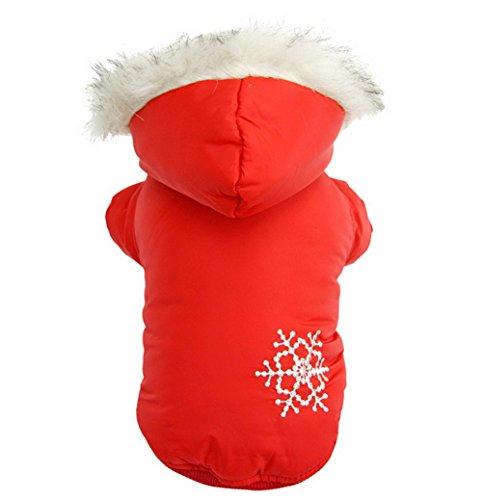 ZUNEA Schneeflocke Reversible Dicken Kleinen Hund Katze Wintermantel Jacke Welpen Abnehmbare Hoodies Schneeanzug Pet Kleidung Rot M (Roten Urlaub-pullover Schneeflocken)