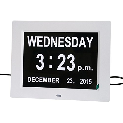 Home, Furniture & DIY Alarm Clocks & Clock Radios 8 Inch Digital Calendar Day Clock with Automatic Backlight and Alarm Function UK