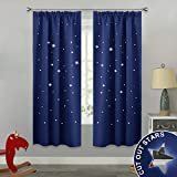 RYB HOME Blickdicht Vorhang mit Kräuselband - Gardine Sterne Ausstanzen Verdunklungsvorhänge für Kinderzimmer Schlafzimmer Wohnzimmer, 2 Stücke H 182 x B 116 cm, Blau