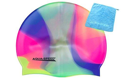 AQUA-SPEED® SET - BUNT Badekappe + Kleines Mikrofaser Handtuch | Silikon | Bademütze | Badehaube | Schwimmhaube | Erwachsene | Damen | Herren | Kinder, Kappen Designs:01. Bunt / 91