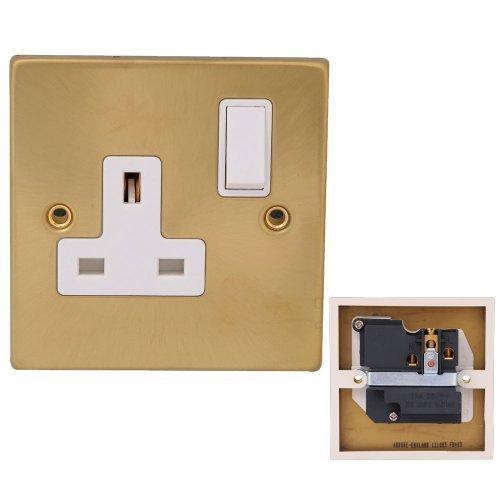 Preisvergleich Produktbild Powerstar - Lichtschalter, TV, Herd Telefon Anschlüsse - Messing Gebürstet Gold - 13A 1 Gang Schalter Sockel
