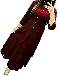 Gopinath Collections Cotton Maroon Plain Stitched Long Kurtis