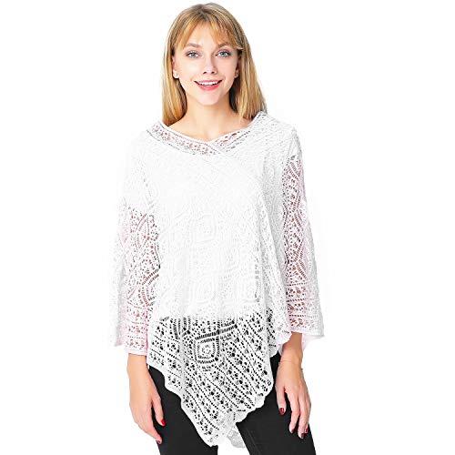 Puli da donna uncinetto a maglia scialle hollow out pullover poncho elegante cape cardigan cover up taglia unica white taglia unica