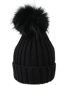 Vogueearth Inverno Più Caldo Cappello Berretto with Large Procione Pelliccia Pom Palla Beanie Cap