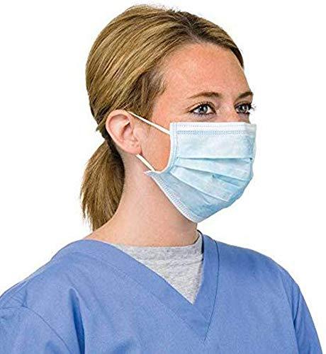 YDYL-LI 10Pcs Einweg-Medizinische Masken Gasmasken Luftdurchlässigem Staubfiltermasken Masken Mit Elastischem Ohr Industrie Masken, Blau,100PCs