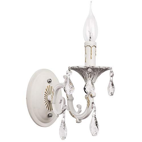 MW-Light 301024501 Shabby Chic Wandleuchte Kerzen Weiß Metall mit Kristall 1 Armig E14 x 60W - Antik Weiß Metall Bett