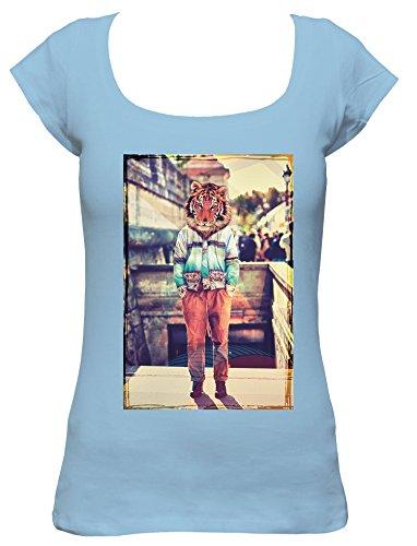 Kostüm Boat Love - Tiger-head Cooles Party Damen Boat Neck T-Shirt, pink, XL