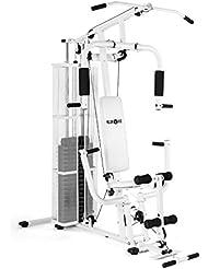 Klarfit Ultimate Gym 3000 multiestación de musculación (entrenamiento profesional, robusto armazón, poleas, pesos ajustables, múltiples ejercicios para brazos, piernas, espalda, hombros y pecho) - blanco