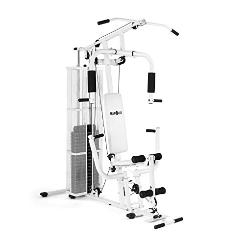 Klarfit Ultimate Gym 3000 Multi Fitnessstation Trainingsstation (Seilzügen, verstellbare Gewichte, Polster) weiß