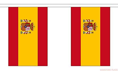 Wimpelkette mit Shatchi-Wappen Spanien, Nationalstoff, 3 m, 10 Flaggen, Rugby-Fans, Dekoration, mehrfarbig - 3/4-rugby