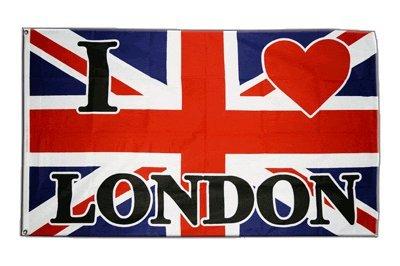 Fahne / Flagge Großbritannien I Love London + gratis Sticker, Flaggenfritze®