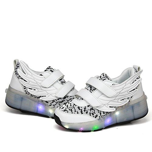 LED Kinder Junge Mädchen Led Schuhe Mit Rollen Herren Skateboard Rollschuhe Damen mit ein Rad 7 Farbe Farbwechsel Sneaker Weiß