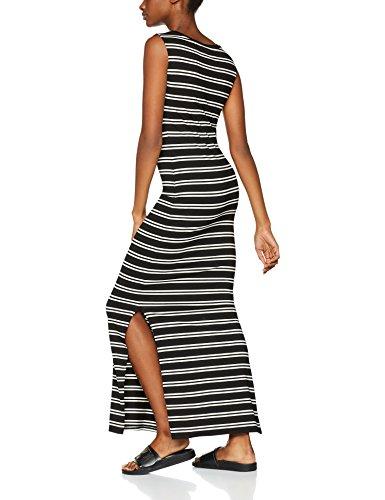 FIND Damen Kleid Jersey Maxi Mehrfarbig (Black/Ivory)