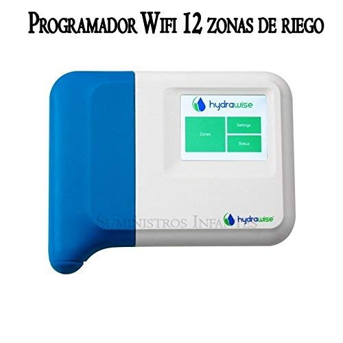 Programador Wifi eléctrico Hunter 12 zonas interior. Programador de riego Hydrawise controlado vía wifi desde cualquier parte del mundo desde su móvil iphone o android, y desde un ordenador. Controla hasta 12 estaciones de riego con electroválvulas de 24V