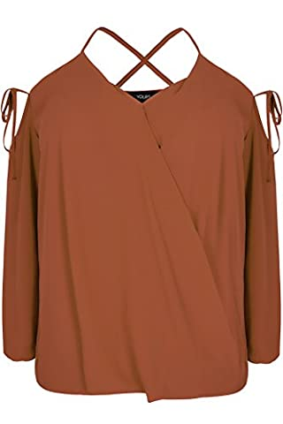 Womens Limited Collection Cold Shoulder Wrap Top With Lattice Straps, Plus Size Size 24 Brown
