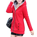 Alician Women Fashion Autumn Winter Thicken Hooded Coat Solid Color Soft Cotton Hoodie