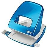 Petrus 623588 Taladro de Oficina con Barra Guía y Marcas de Formato, Perfora 30 Hojas, Metal, Gama WOW,Azul
