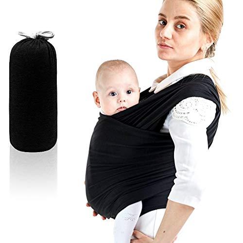 SaponinTree Fular Portabebés Elástico Gris Portador de Bebé, Pañuelo de 100% de Algodón, Porteo Seguro y Ergonómico Durante la Lactancia, Para Padres Unisex (Negro)