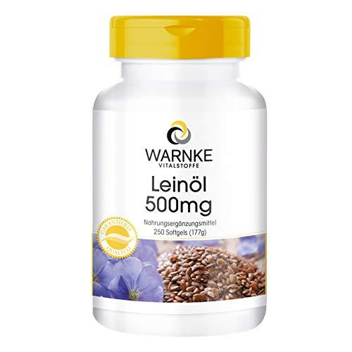 Warnke Gesundheitsprodukte Leinöl 500 mg, kaltgepresst, 58 prozent Alpha-Linolensäure (Omega-3-Fettsäure), 250 Softgels, Großpackung, 1er Pack (1 x 177 g)