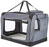 WOLTU HT2062gr Hundebox Hundehütte Hundetransportbox Auto Transportbox Reisebox Katzenbox mit Hundedecke Faltbar 102x69x69cm, Grau