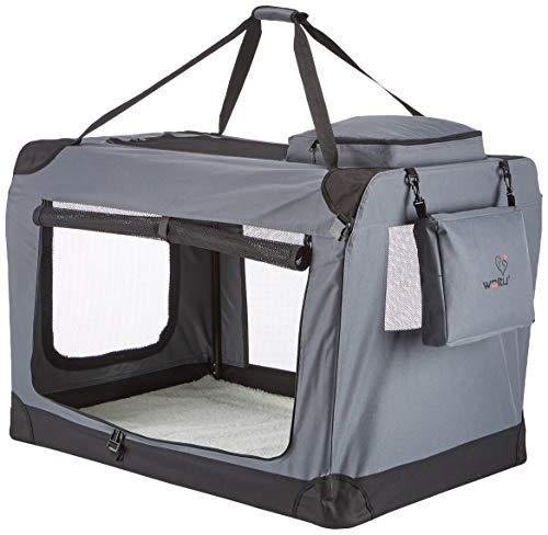 Unbekannt Hundebox Hundehütte Hundetransportbox Auto Transportbox Reisebox Katzenbox mit Hundedecke faltbar Beige Grau Blau Rot Violett Schwarz S M L XL XXL XXXL #384