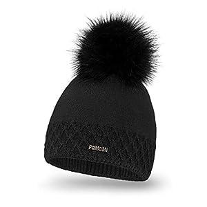 PaMaMi Warme Mütze für Damen | Acryl und Wolle | Strickmütze Beanie mit Fellbommel | Kopfumfang 55-58 cm | für Herbst und Winter
