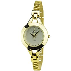 Women's Watch MICHAEL JOHN Silver Quartz Steel Case Analogue Display Steel Band Gold