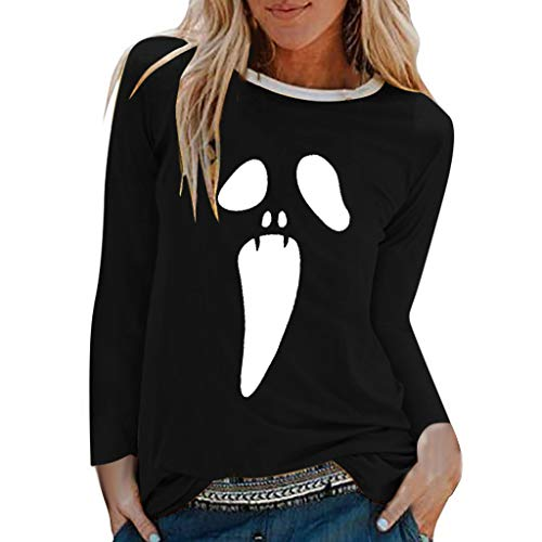 Zegeey Daman Halloween Pullover Langarm Rundhals Drucken Classic Top Lose LäSsige Basic T-Shirt Herbst Winter Sweatshirt Bluse Oberteil Sport Hemd Party KostüM(Schwarz,EU-42/CN-2XL) (Halloween-kostüme 2019 Alternative)