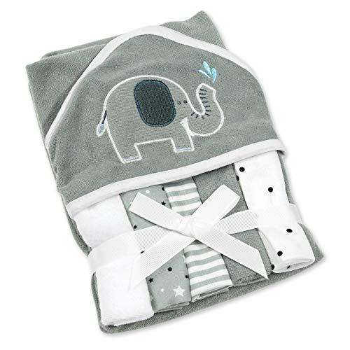 Snuggle Baby Kapuzenhandtuch Unisex grau | Motiv: Elefant | Baby Handtuch mit 5 Waschlappen für Neugeborene & Kleinkinder | Einheitsgröße