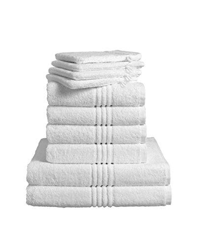 De Witte Lietaer 173936Luxury Hotel Bad-Set, 4Waschhandschuhe + 4Handtücher + 2Duschhandtücher, Baumwolle, Weiß - Hotel Handtücher